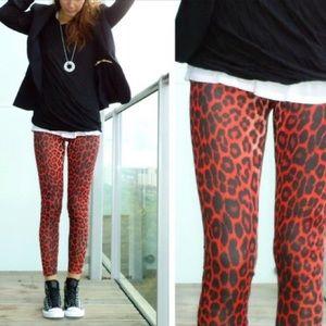 Topshop Red Leopard Leggings